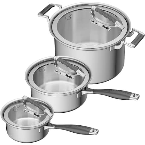 CookCraft by Candace 6-Piece Tri-Ply Stainless Steel Legacy Cookware Set