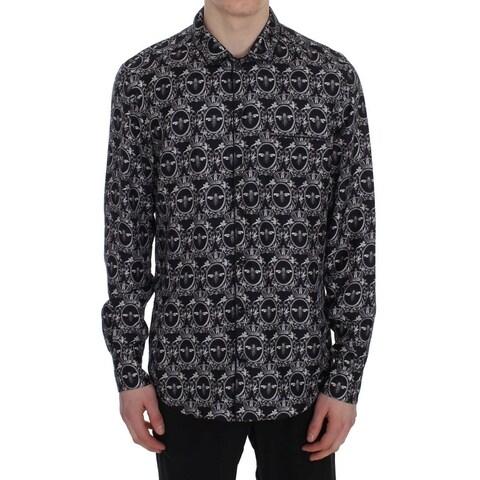 Dolce & Gabbana Dolce & Gabbana Crown Bee Print Silk Pajama Shirt - S