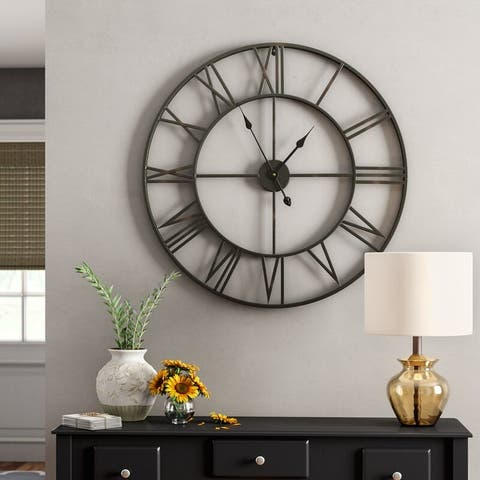 "Walplus Large Roman Black Silver Iron Wall Clock 22"" Minimal Decor Art"
