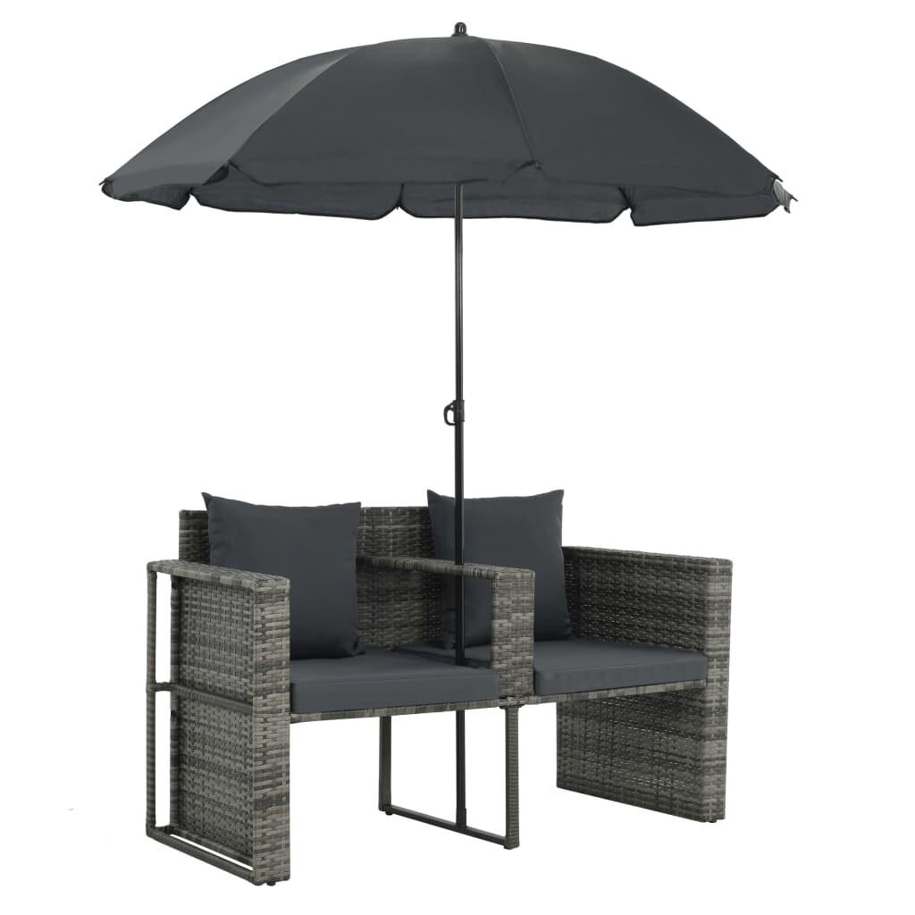 vidaXL Patio Sofa Set w/ Parasol Poly Rattan Wicker Gray Outdoor Sun Day Bed