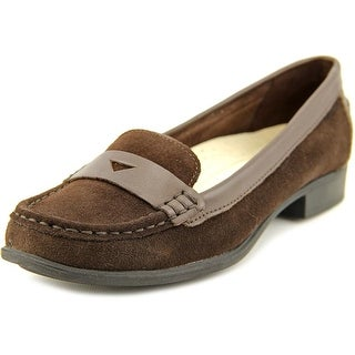 Hush Puppies Motive Penny II Women Moc Toe Suede Brown Loafer