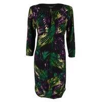 Style & Co. Women's 3/4 Sleeve Pleated Dress - green brushstroke multi - 6