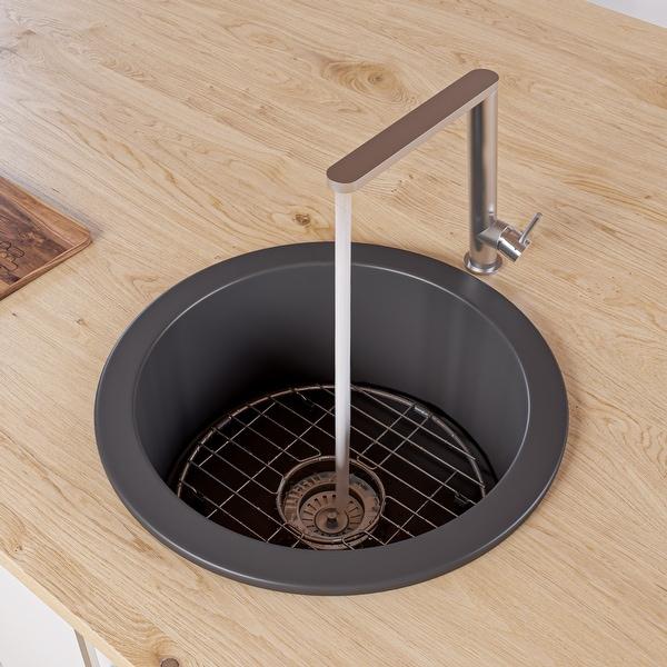 "Black Matte Round 18"" x 18"" Undermount / Drop In Fireclay Prep Sink. Opens flyout."
