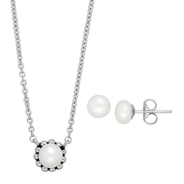 Girl's 5.5-6 mm Freshwater Pearl Stud Earring & Necklace Set in Sterling Silver