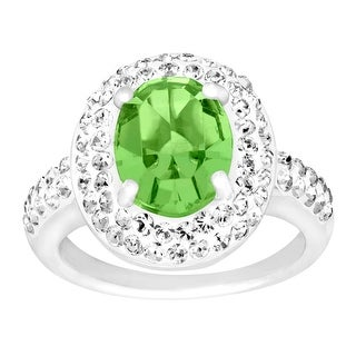 Crystaluxe Ring with Meadow and White Swarovski Crystals in Sterling Silver - Green