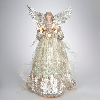 "16"" Lighted Gold and Platinum Angel Christmas Tree Topper - Clear Lights"