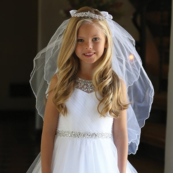 2b4572258119e Shop Angels Garment Girls White Bow Rhinestone Tiara Communion Flower Girl  Veil - Free Shipping On Orders Over $45 - Overstock - 19839429