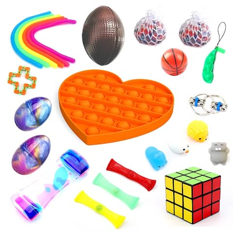 JoyX 25 Pack Bundle Fidget Set. Anti-Stress Toys for Kids, Teens and Adults from JoyX. Squeeze Bean/Pop Fidget and More