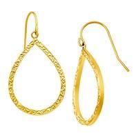 Eternity Gold Etched Open Teardrop Earrings in 10K Yellow Gold