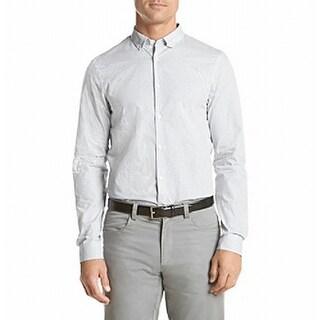 Michael Kors NEW White Mens Size L Button Down Polka Dot Print Shirt