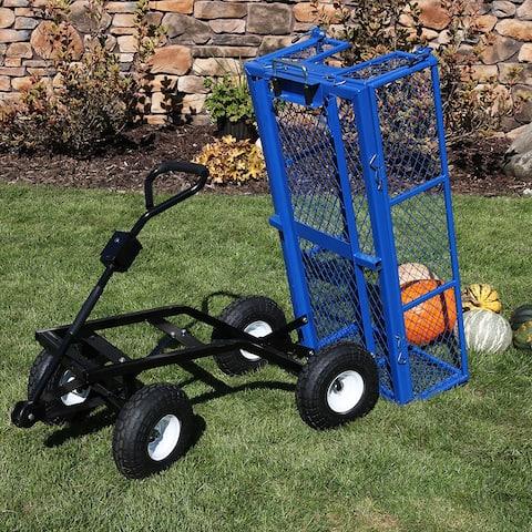 Sunnydaze Steel Dump Utility Garden Cart - 660 Pound Weight Capacity - Blue - Blue Blue - Cart ONLY