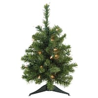"""18"""" Pre-Lit Canadian Pine Artificial Christmas Tree - Clear Lights - green"""