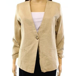 Gibson NEW Beige Women's Size Large L Ruched-Sleeve One Button Blazer