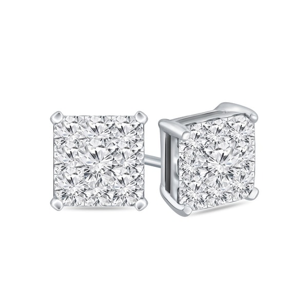 Auriya 14k Gold 1/2ctw Square Pave Diamond Stud Earrings. Opens flyout.