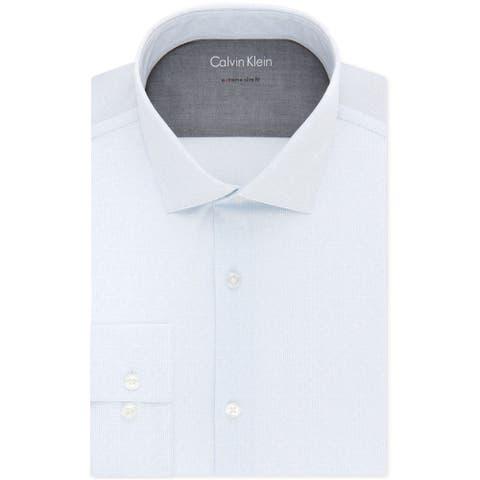 "Calvin Klein Mens Thermal Button Up Dress Shirt, blue, 16""-16.5"" Neck 32""-33"" Sleeve"