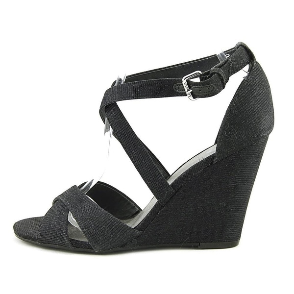 G by Guess Womens Harpee Fabric Open Toe Special Occasion Platform Sandals - Black - 9