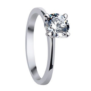ALBA Classic Four Prong Round Solitaire White Sapphire Palladium Engagement Ring