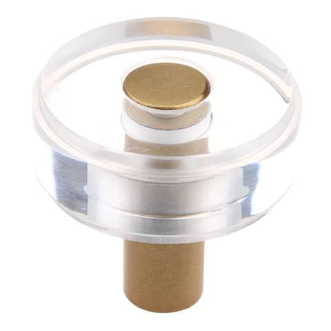 GlideRite 1-1/2 in. Round Clear Cabinet Knobs, Satin Gold (10-Pk) - Satin Gold