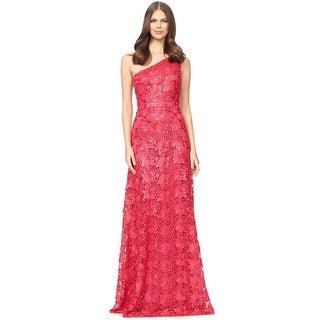 David Meister Embroidered Lace One Shoulder Evening Gown Dress