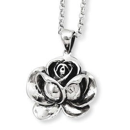 Stainless Steel Antique Finish Flower Pendant 24in Necklace (2 mm) - 24 in