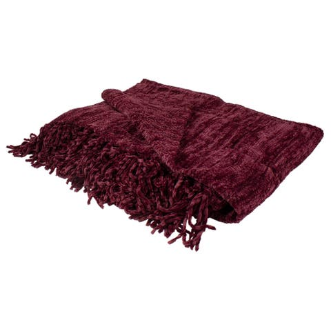 """Burgundy Red Plush Chenille Throw Blanket with Fringe 50"""" x 60"""""""