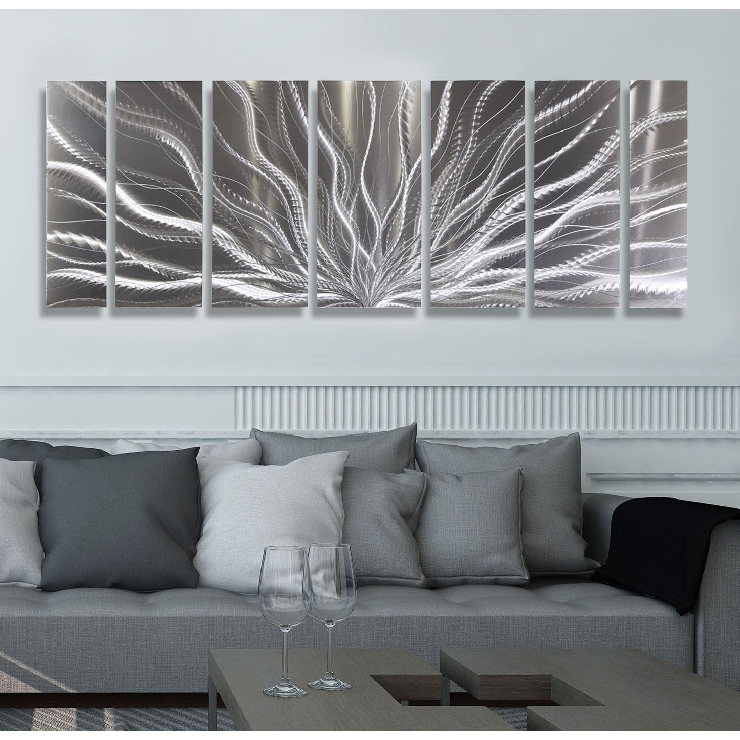 Statements2000 Silver Abstract Etched Metal Wall Art Sculpture by Jon Allen - Galactic Expanse - Thumbnail 0