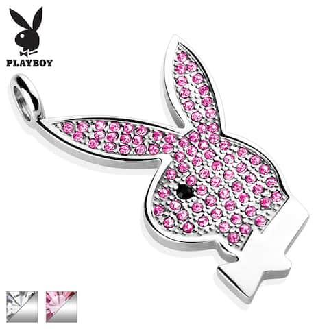 Gem Paved Playboy Bunny 316L Surgical Steel Pendant (23 mm Width)