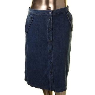 MICHAEL Michael Kors Womens Denim Skirt Dark Wash Denim