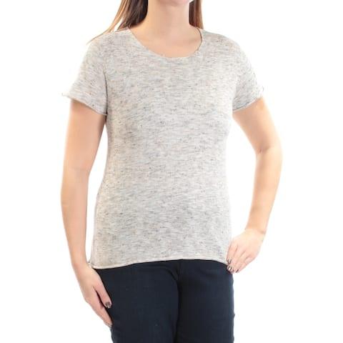 MAX STUDIO Womens Beige Speckle Sleeveless Jewel Neck Sweater Size L