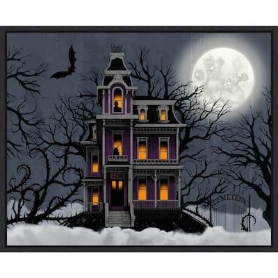 Amanti Art Spooky Night - Full Moon Framed Canvas Wall Art