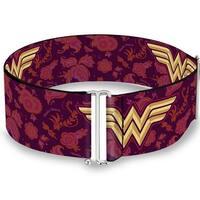 Wonder Woman Logo Floral Collage Purple Pinks Gold Cinch Waist Belt   ONE SIZE