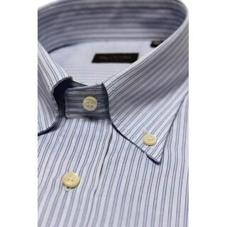 Valentino Men's Regular Fit Cotton Dress Shirt Baby Blue-Pinstripe Blue