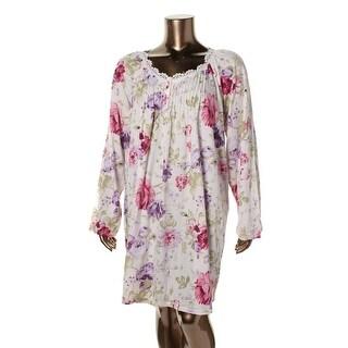 Carole Hochman Sleepwear Womens Plus Floral Print Crochet Trim Sleep Shirt - 1X