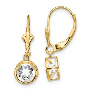 Link to 14K Yellow Gold 6mm Cubic Zirconia Leverback Earrings by Versil Similar Items in Earrings