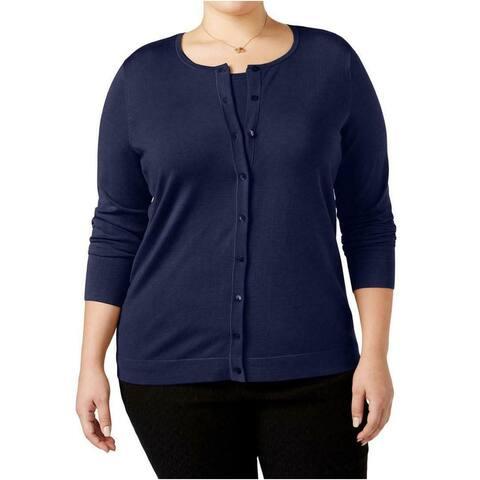 August Silk Womens Sweater Navy Blue Size 1X Plus Button Cardigan