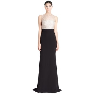Carmen Marc Valvo Beaded Lace Bodice Contrast Evening Gown Dress - 4