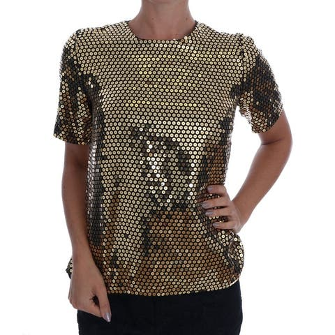 Gold Sequined Crewneck Men's T-Shirt