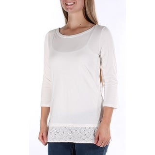Womens White 0 3/4 Sleeve Jewel Neck Top Size S