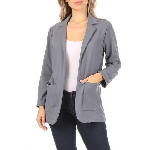 Women's Casual Solid Long Sleeve Office Blazer Jacket