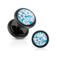 Blue Inlay w/ Cherry Blossoms Black Acrylic Fake Plug with O-Rings (Sold Individually)