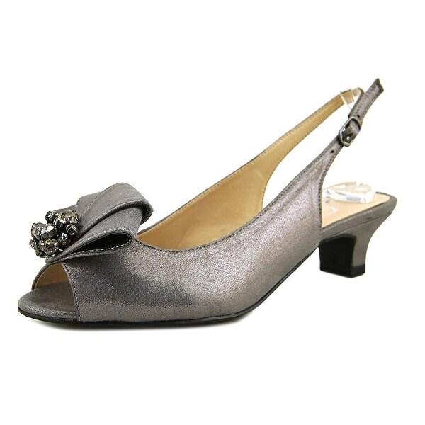 J. Renee Jadan Women Peep-Toe Canvas Gray Slingback Heel