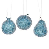 3ct Turquoise Blue Beaded, Sequin and Glitter Pear, Apple and Pomegranate Fruit Christmas Ornaments