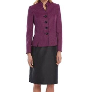 Le Suit NEW Purple Black Women's Size 18 Plus Textured Skirt Suit Set