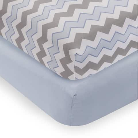 Bedtime Originals Mod Monkey Blue/Gray/White Chevron and Solid 2-Pack Fitted Crib Sheets