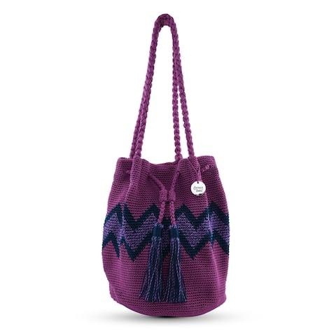 DOWA Magenta Navy Purple Handwoven Crocheted Knitted Crossbody Bag