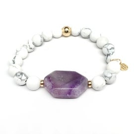 White Howlite & Purple 'Rock Candy' stretch bracelet 14k Over Sterling Silver