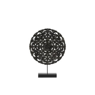 Floral Patterned Round Wooden Wheel Ornament On Rectangular Stand, Small, Black