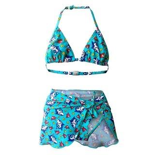 Girls 3-Pc Bikini Set in Sharks & Fish Print (bikini set plus pareo)