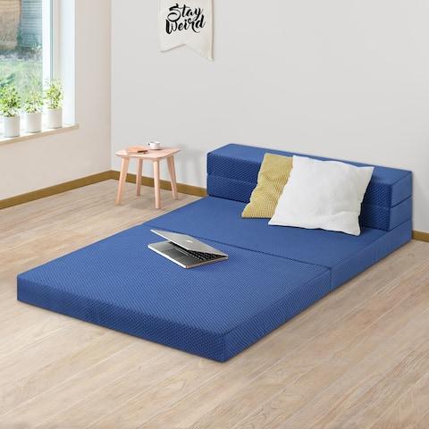Sleeplanner 4-inch Tri-Fold Memory Foam Topper 04TM02X - blue