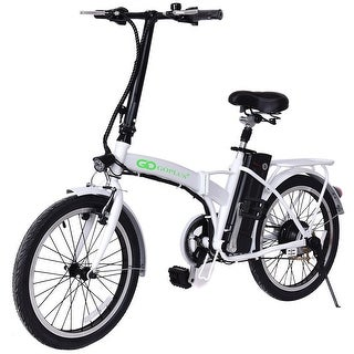 Goplus 20'' 250W 36V Folding Electric Mountain Bicycle EBike Speed Lithium Battery White